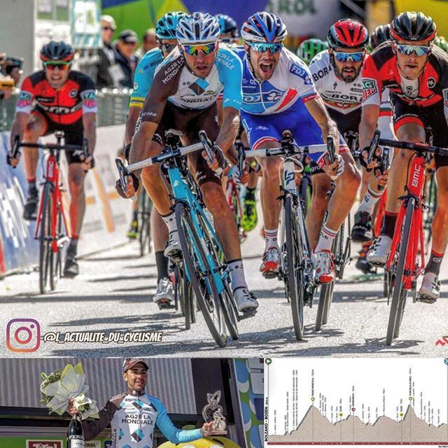 Matteo Montaguti (AG2R) wins the 4th stage of the Tour of the Alps (2.HC) just before Thibaut Pinot (FDJ) and Rohan Dennis (BMC). Geraint Thomas (Sky) is still the leader.  Matteo Montaguti (AG2R) remporte la 4ème étape du Tour des Alpes (2.HC). A