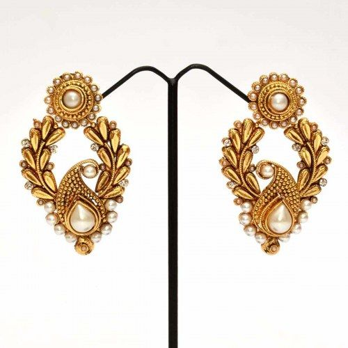 Anvi's mango design chand baali with pearls and white stones - Online Shopping for Earrings by Anvi Collections