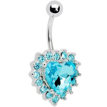 Aqua Gem Sweet Surround Princess Heart Belly Ring | Body Candy Body Jewelry