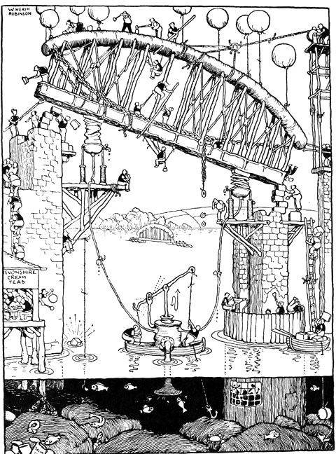 The Building of the Saltash Bridge    W. Heath Robinson    1935    From Railway Ribaldry    An early twentieth-century postcard of the Saltash Bridge.