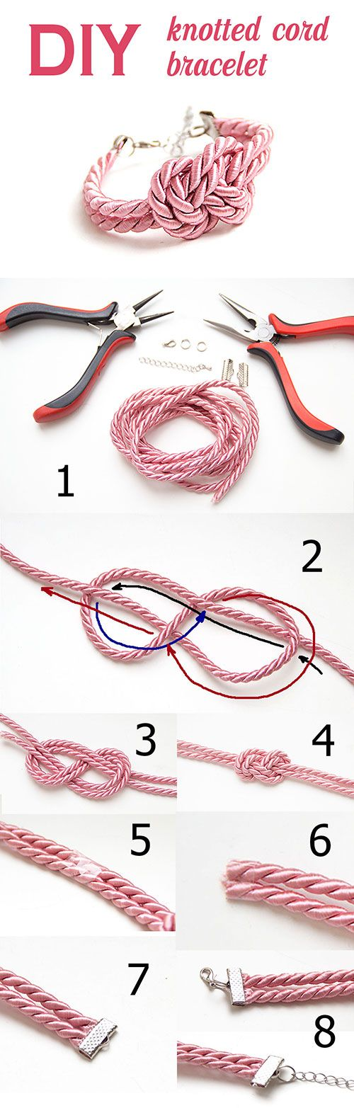 Knotted cord bracelet DIY; also find it here: http://www.carryon-carryon.com/2011/10/diy-not-so-nautical-rope-headband.html