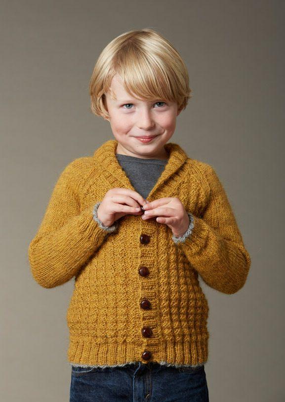 Image of Børne Cardigan Med Raglan Og Sjalskrave, STRIKKEOPSKRIFT, Strikkebogen model 113