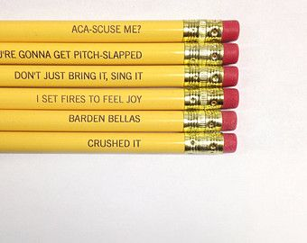 Pitch perfect pencil set 6 six pack pencils in sunshine yellow.