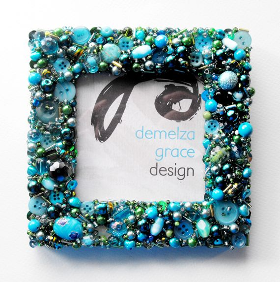 Button, bead & charm encrusted photo frame by Demelza Grace Design