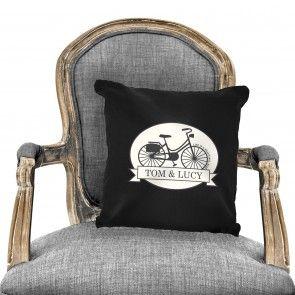 Personalised Vintage Bike Black Cushion Cover