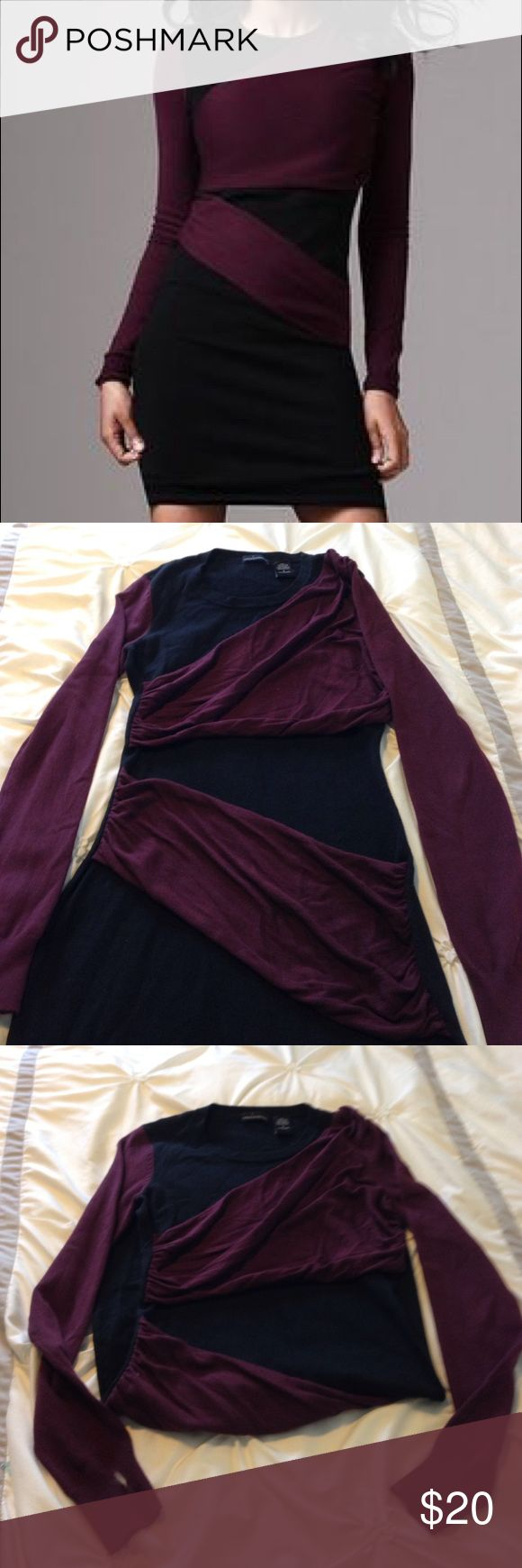 VS Purple and Black Sweaterdress - Small Black Sweaterdress by Moda International, sold by Victoria's Secret with flattering purple colorblock stripes. Perfect for fall. Looks so much better on, first photo is from the catalog. Victoria's Secret Dresses