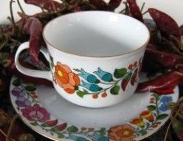 Hungarian China cup with floral motifs and paprika
