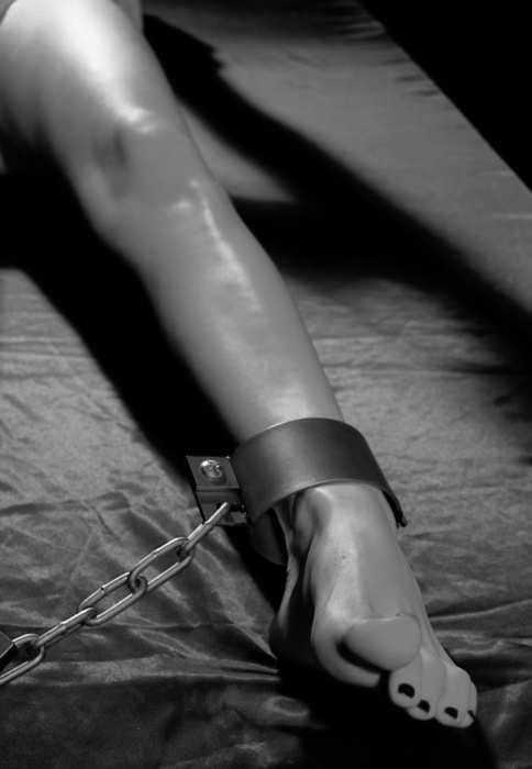 Blonde fingered in bondage