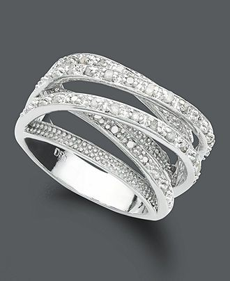Victoria Townsend Diamond Ring, Sterling Silver Diamond Multi Row (1/2 ct. t.w.) - Jewelry & Watches - Macy's