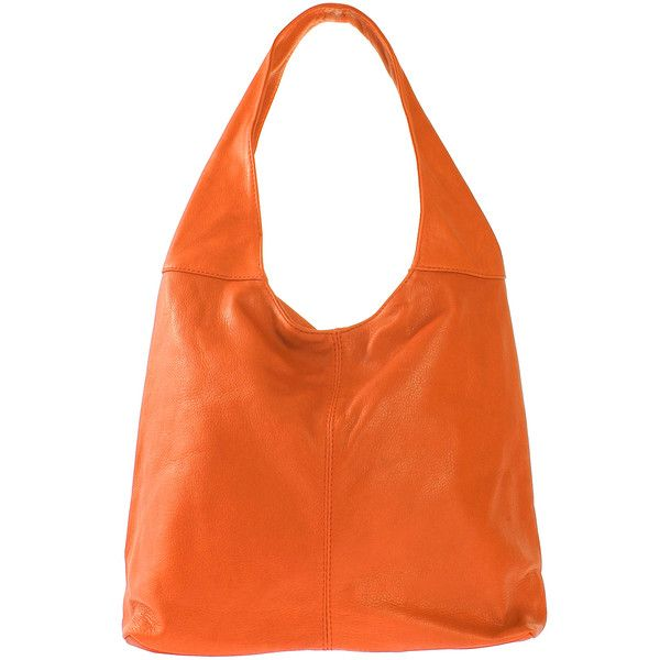 Roberta Rossi Tan Leather Hobo (€81) ❤ liked on Polyvore featuring bags, handbags, shoulder bags, orange leather purse, slouchy shoulder bag, hobo purses, leather hobo handbags and orange leather handbag