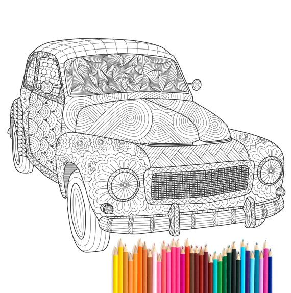 PDF printable Adult Coloring Page Zentangle Volvo PV544 by