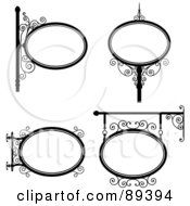 Royalty Free RF Clipart Illustration Of A Digital Collage Of Black And White Wrought Iron Storefront Signs Version 1 by Frisko