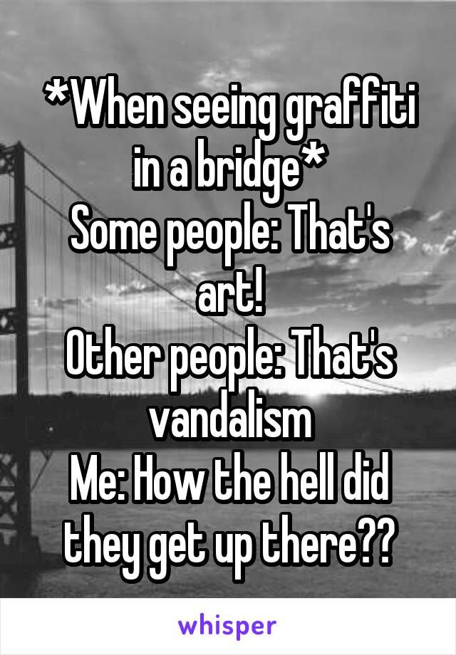 *When seeing graffiti in a bridge* Some people: That's art! Other people: That's vandalism Me: How the hell did they get up there??