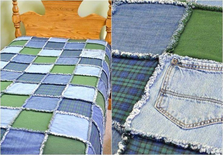 couverture lit en jeans recyclé idée diy