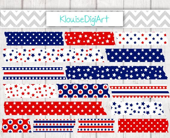 July 4th Red and Blue Printable Washi Tape by KlouiseDigiArt