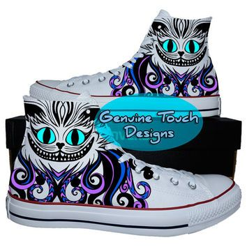 Hand Painted Converse Hi Sneakers, Cheshire cat, Fanart, Cat shoes, Custom Handpainted shoes, Custom Converse Birthday Gifts
