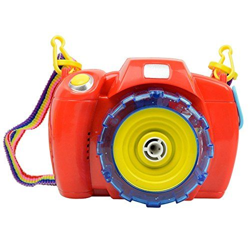 Bubble Camera Music Bubble Camera Machine Toy with Bubble Solution for Kids Outdoor and Indoor Bubble Fun Toys Gift $14.66 Material: plastic, metal, electronic components(keep dry) Color: red; size: 12cm*8.5cm*9cm Requires common battery not strong alkali battery. Not Included. Function: interest training, parent-child communication, emotional, hands-on brain, interactive toys, grip, hand-eye coordination and other capacity-building, visual. Recommended for Ages 3 & up.