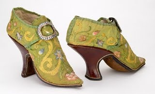 Venetian green embroidered shoes from the court in England- early 1800s.