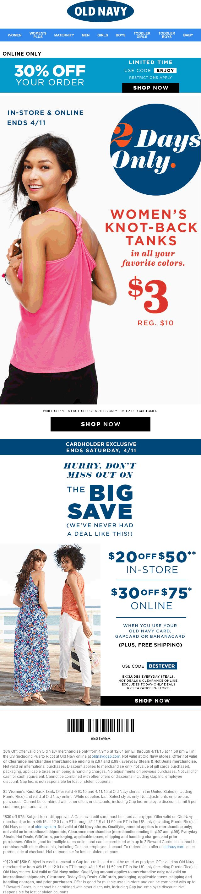 Pinned april 11th 30 off online more today at old navy
