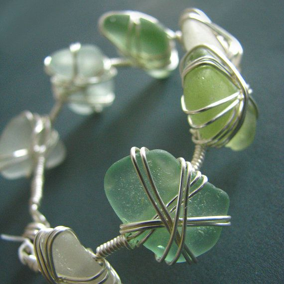 Seaglass bracelet  wire wrapped  white aqua by ZamzamCreations, $60.00