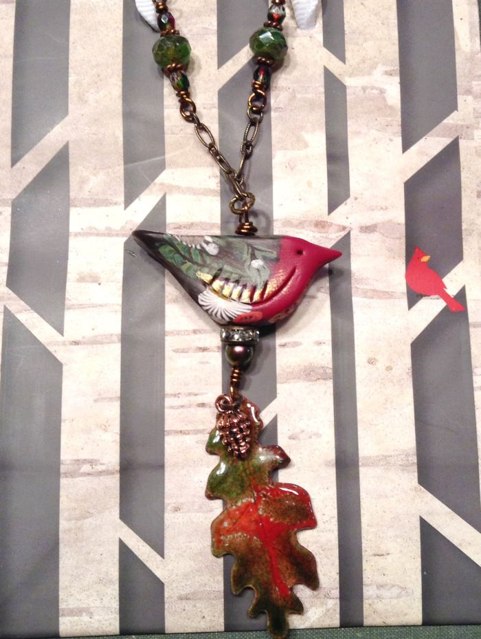 Dec Art Bead Scene challenge. Features polymer clay bird by Humblebeads, enameled leaf by Anne Gardanne, and Czech glass