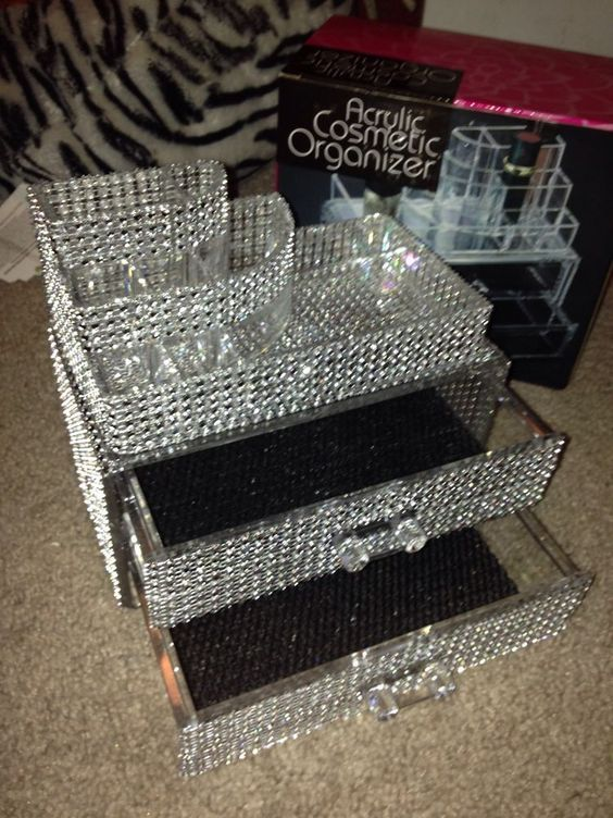 DIY ~:~ Rhinestone Bling Acrylic Cosmetic Organizer ~:~ But you could glue on any notions that you find and like that fit.