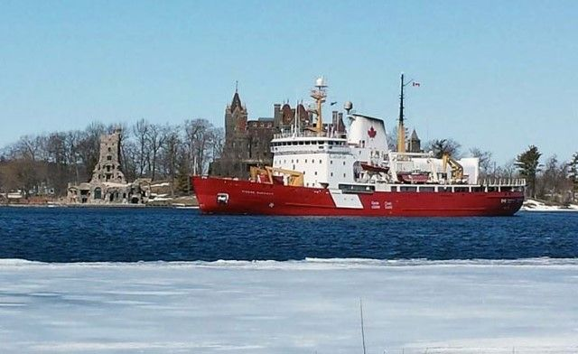 Canadian Coast Guard Ice Breaker Passes Through Alexandria Bay, NY