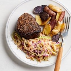 Pastrami-Spiced Beef with Sauerkraut-Broccoli Slaw - EatingWell.com