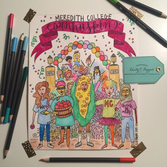 Meredith College Cornhuskin' Parade print by PrettyThingsbyEmily