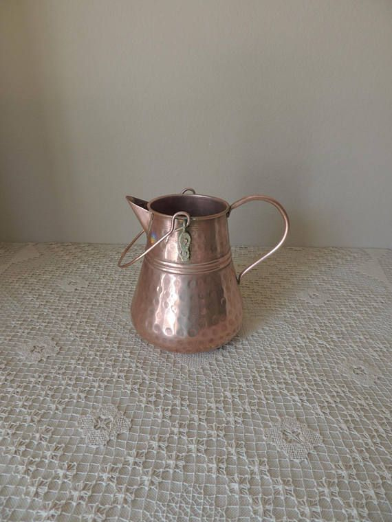 Rustic Copper Pitcher Primitive Hammered Water Jug Antique Reproduction Decor French Farmhouse Kitchen Vase My Etsy