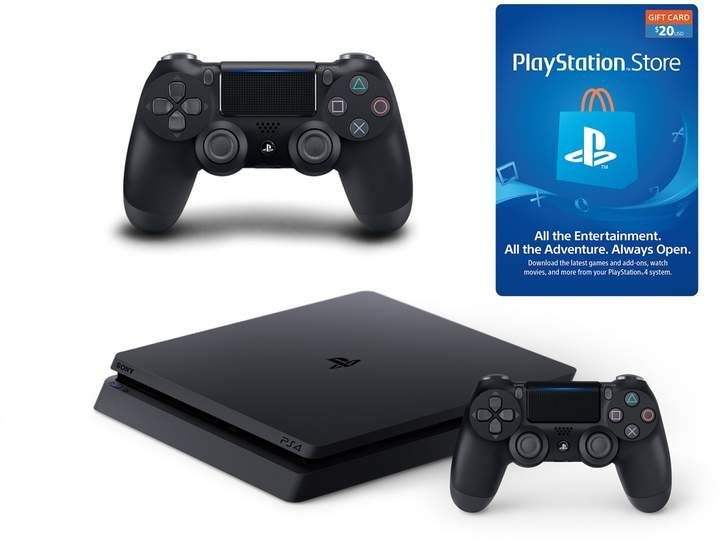 Sony Playstation 4 1tb Slim Console With 2 Dualshock 4 Controllers 20 Ps Store Gift Card Ps Store Playstation Latest Games