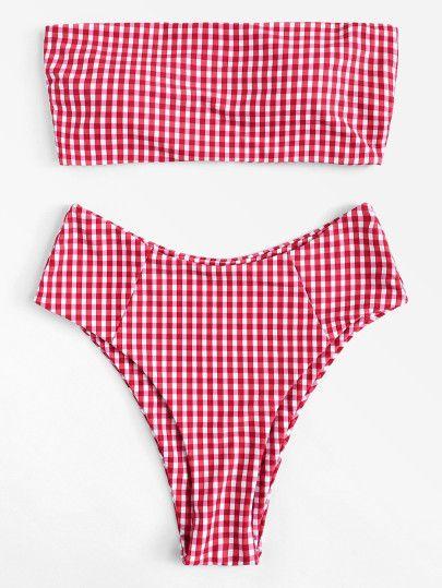 9113ddaabe2 Shop Gingham Bikini Set online. SheIn offers Gingham Bikini Set & more to  fit your fashionable needs.