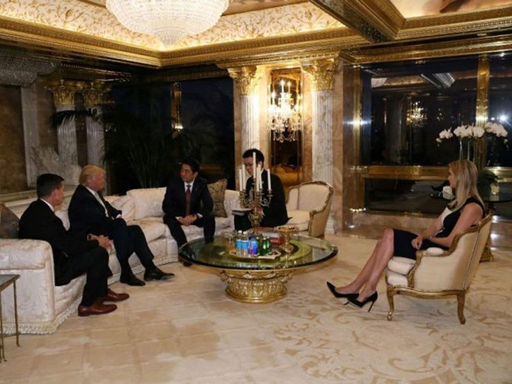 Donald Trump's daughter has been pictured attending a meeting with Japanese Prime Minister Shinzo Abe, heightening concerns the President-elect's family will wield unprecedented influence over his political duties. Ivanka Trump, who features in handout photos of the impromptu gathering, plays a significant role in managing Mr Trump's businesses, along with his other adult children.
