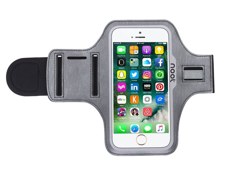 """iPhone 7 Armband Case Cover - Noot Products Armband for Running Workout Exercise Housework Sports Activity. 24 month warranty, easy to reach customer service. Fully compatible with the iPhone 7. Cutoffs on the armband are made specifically for the iPhone 7. Two slots offers adjustable sizes from 9"""" to 16.5"""". There is a pocket for your key and additional storage for your earphone cable. Stitched velcro for a secure closure."""