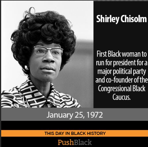 On January 25, 1972, Shirley Chisolm announced that she would seek the Democratic Party nomination for president, thus becoming the first African American woman to run for president for a major political party. Though she was also the first African-American woman elected to Congress in 1968, a founding member of the Congressional Black Caucus, and …