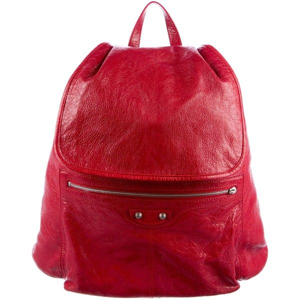 Pre-owned Balenciaga Arena Leather Classic Traveler S Backpack ($945) ❤ liked on Polyvore featuring bags, backpacks, red, leather zip backpack, flap backpack, studded backpacks, leather travel backpack and red leather backpack