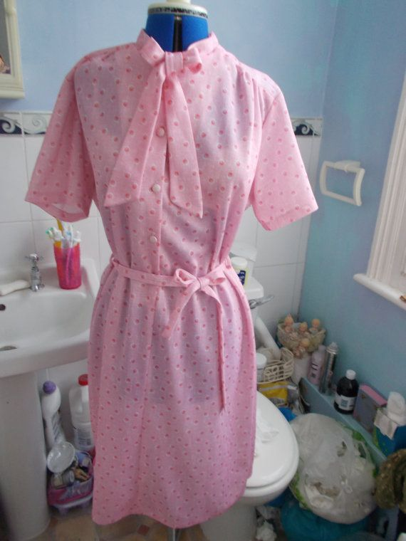 Bespoke 1950s Pussy-Bow Pink Print Dress with by TheAtticofKitsch