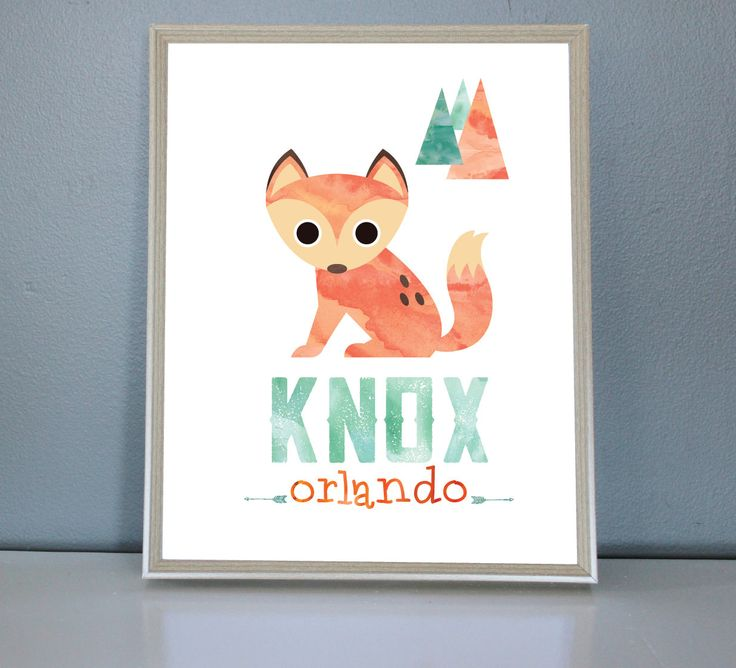 Watercolour Personalised Name Fox print  -  Wall/Art Print 8X10, 11X14 by PrettyPaperPlaceShop on Etsy