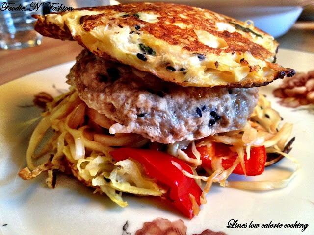 Low calorie asian burger with steamed teryaki pork patties, potato-sesame buns and cale.   There is an english translator on the page.