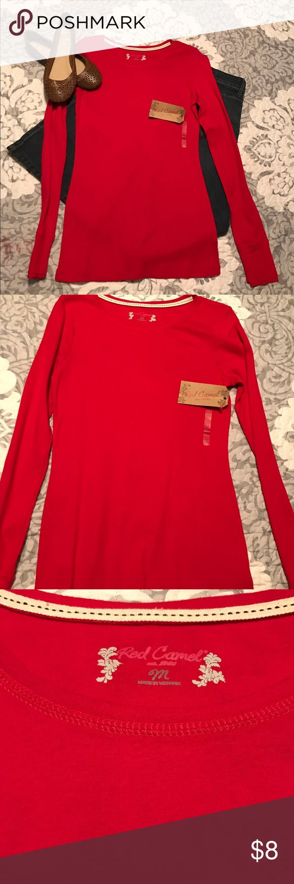 Red long sleeve Brand new red long sleeve t shirt. Excellent unworn condition. Smoke free home. Red Camel Tops Tees - Long Sleeve