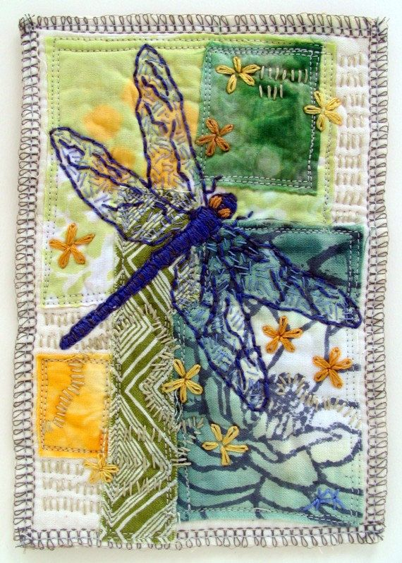 Fiber Art, original mini art quilt, featuring hand dyed cotton, applique and hand embroidered dragonfly via Etsy
