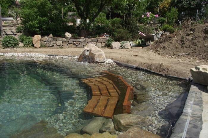 Natural pond ? Pool bench rock stone Pond schwimmteich