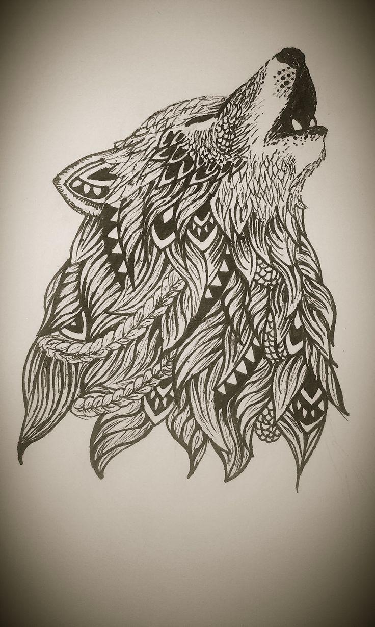 Estoy esperando el día en que me haga este tatuaje. Zentangle wolf