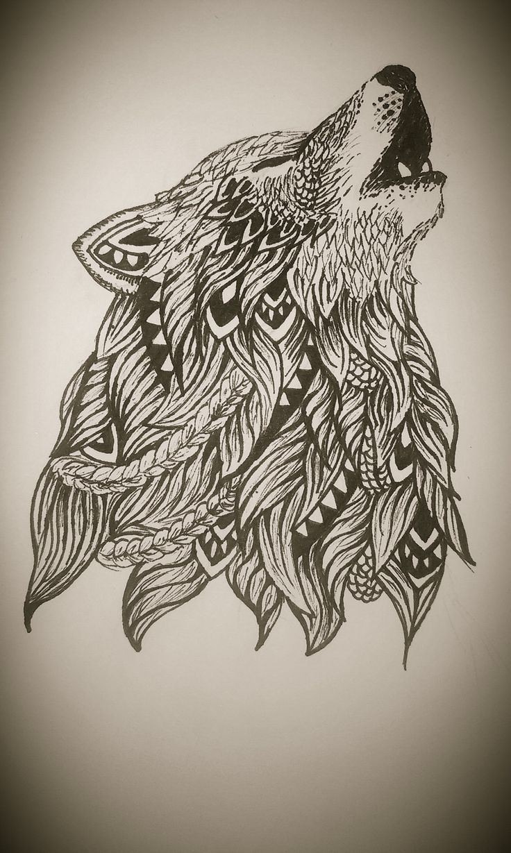 Zentangle wolf https wwwfacebookmardepedres