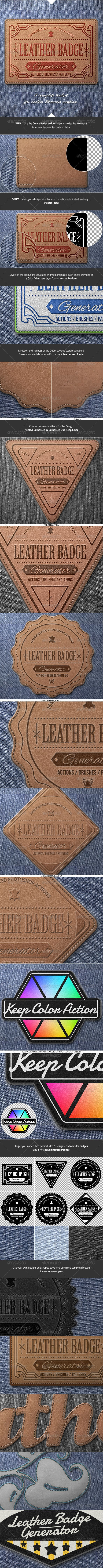Leather Badge Generator - Photoshop Actions --- Generate realistic leather elements from your text, logo, shape or design in few clicks.
