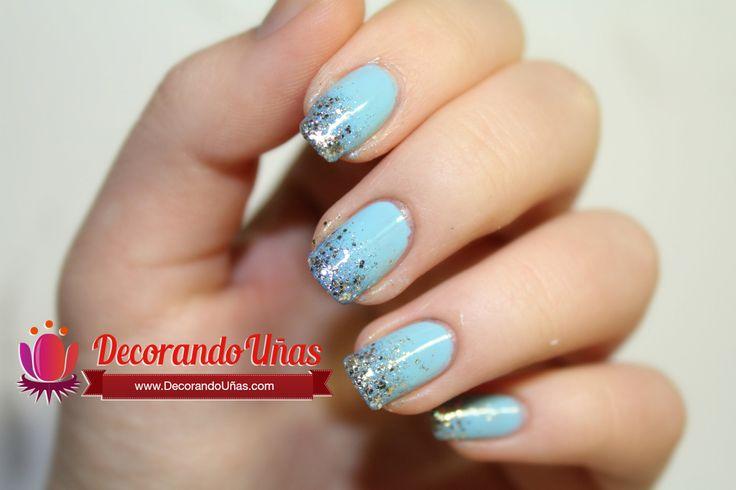 Uñas decoradas con Glitter (brillos) y en degradado - http://xn--decorandouas-jhb.com/unas-decoradas-con-glitter-brillos-y-en-degradado/