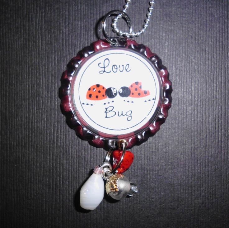 Love Bug Bottle Cap Charm Necklace