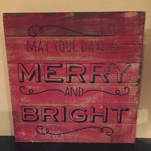 Holiday rustic pallet wood sign perfect for your Christmas décor! This sign is made from refurbished wood with an all purpose stain and sealant applied. Painted red with vinyl letters.  Dimensions: 12 inches by 12 inches  They make a great holiday gifts or a great piece to add to your holiday décor!  Need a different size sign? A different stain color or paint colors? Have a different saying in mind? Please message us for a custom order! We have many paint and stain options!  Check out our…