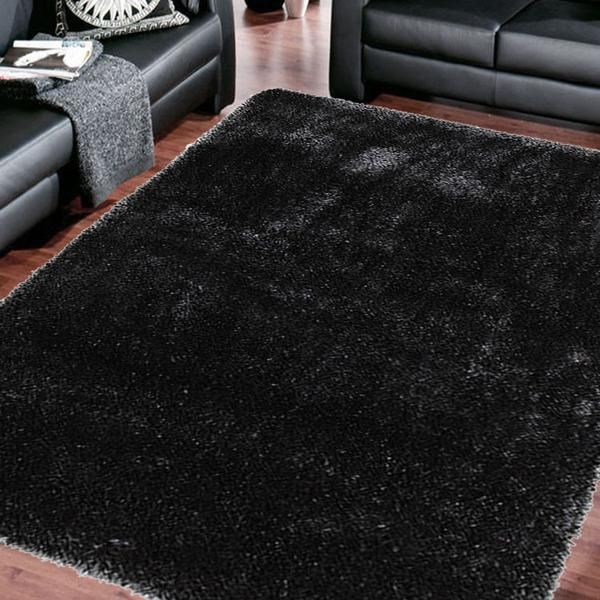 THICK PLUSH SHIMMERING SHAG RUGS CARBON