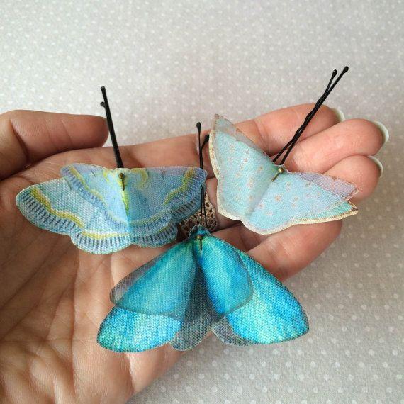 Soft - Handmade Bio Cotton and Silk Organza Blue Shades Butterflies Hair Bobby Pin - 3 pieces